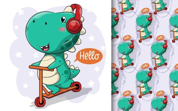 Motorino di guida del dinosauro sveglio del fumetto