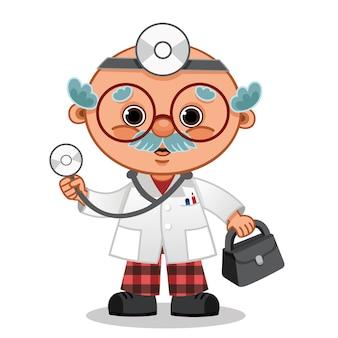 Simpatico personaggio medico dei cartoni animati con valigetta in mano illustrazione vettoriale