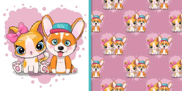 Cane corgi simpatico cartone animato con gattino carino