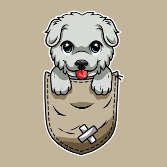 Cane simpatico cartone animato in una tasca Vettore Premium