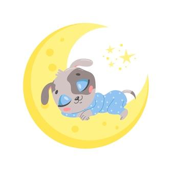 Cane simpatico cartone animato che dorme sulla luna.