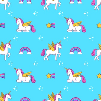 Doodle sveglio del fumetto che disegna stampa senza cuciture del modello dell'unicorno, del cuore, delle ali e delle stelle