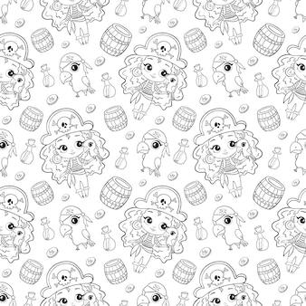 Modello senza cuciture delle ragazze di pirati di doodle sveglio del fumetto. pagina da colorare di pirati