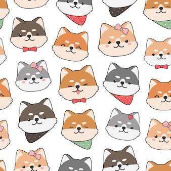Simpatico cartone animato doodle seamless con testa di cane shiba inu
