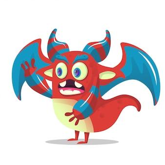 Mostro di drago simpatico cartone animato per la decorazione del partito