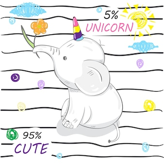 Unicorno di elefanti simpatico cartone animato
