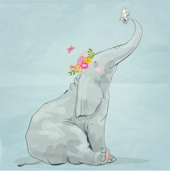 Elefante simpatico cartone animato con topino bianco