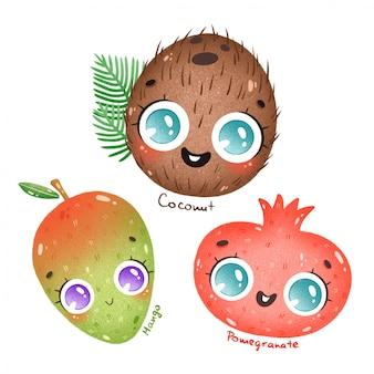 Frutti tropicali esotici del fumetto sveglio con i grandi occhi messi. cartone animato cocco, mango, melograno con nomi