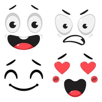 Simpatico cartone animato facce con diversa espressione ed emozioni insieme isolato su sfondo bianco.