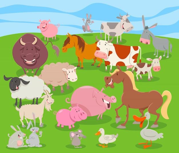 Gruppo di personaggi simpatici animali della fattoria dei cartoni animati