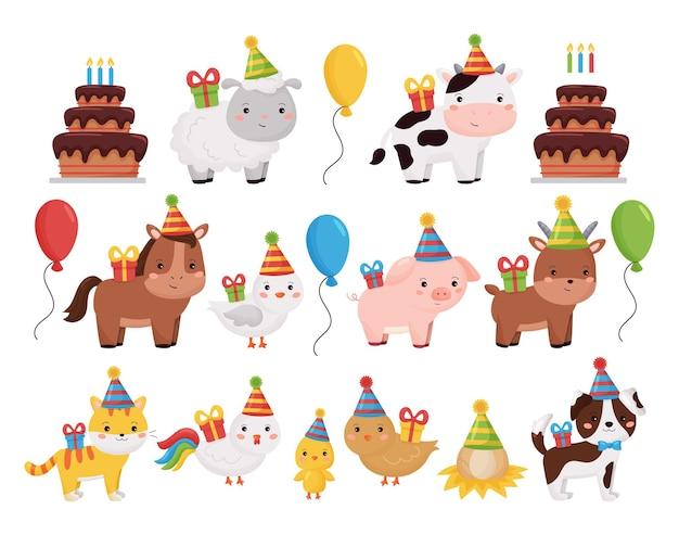 Collezione di animali da fattoria simpatico cartone animato con torta di compleanno, regali, palloncini e torta.