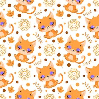 Simpatico cartone animato animali da fattoria meditazione senza cuciture. modello di animali yoga. il gatto medita il modello.