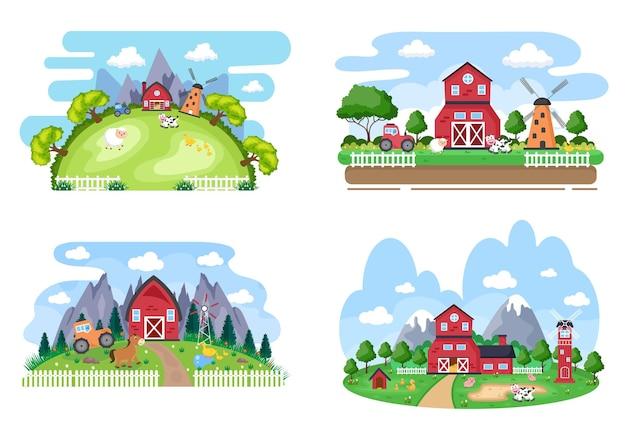 Simpatici animali da fattoria dei cartoni animati