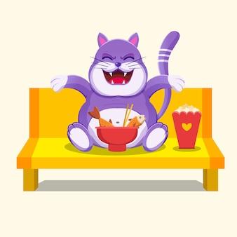 Stile cartone animato gatto grasso sveglio del fumetto che mangia salmone e popcorn
