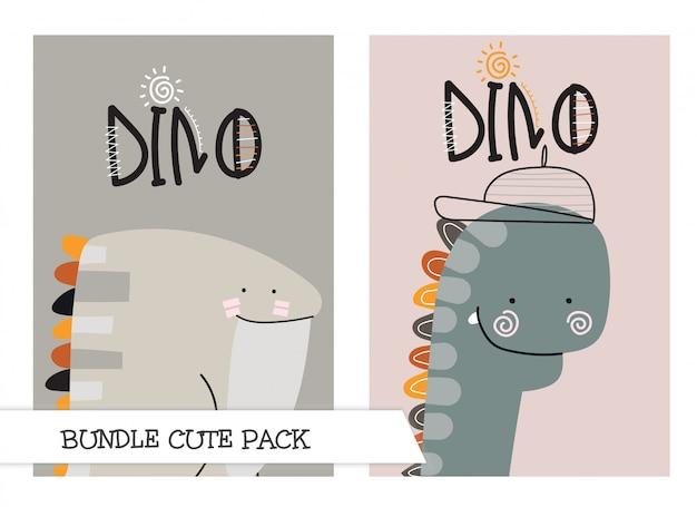 Illustrazione di dino piatto simpatico cartone animato