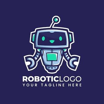 Cartoon carino robot galleggiante illustrazione robot mascotte logo design