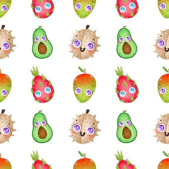 Il fumetto sveglio fruttifica il modello senza cuciture su un fondo bianco. durian, avocado, frutto del drago, mango