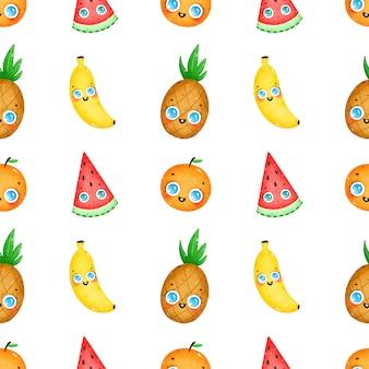 Il fumetto sveglio fruttifica il modello senza cuciture su un fondo bianco. ananas, banana, anguria, arancia Vettore Premium