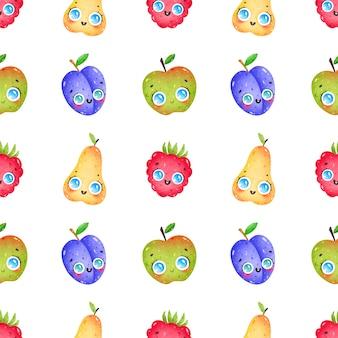 Modello senza cuciture di frutti divertenti del fumetto sveglio su fondo bianco. pera, mela, lampone, prugna