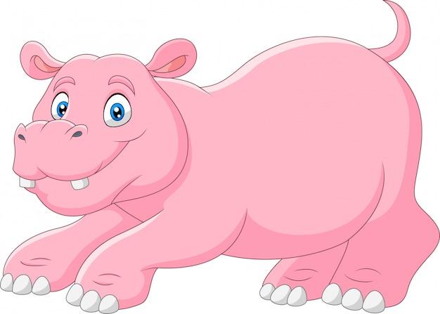 Un ippopotamo divertente simpatico cartone animato