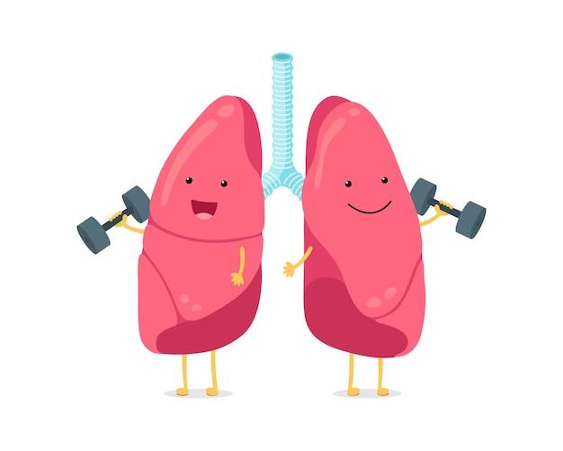 Simpatico cartone animato divertente personaggio dei polmoni con manubri forte sorridente sistema respiratorio umano polmone felice