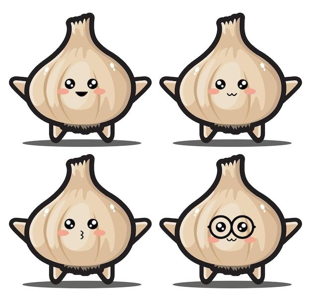 Simpatico cartone animato aglio kawaii design premium