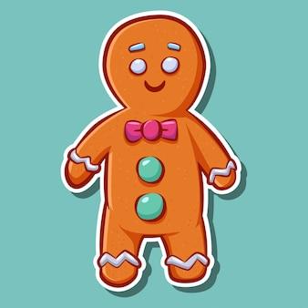 Adesivo biscotto simpatico cartone animato gingerbread man.