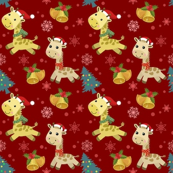 La giraffa sveglia del fumetto indossa il cappello della santa con il modello senza cuciture della campana e dell'albero di natale.