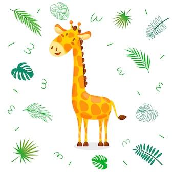 Giraffa simpatico cartone animato con foglie tropicali.