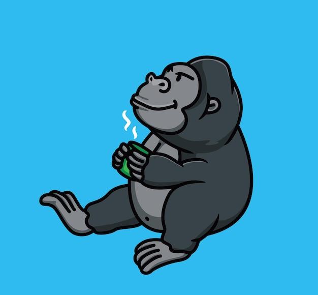 Simpatico cartone animato gorilla animale che beve una tazza di caffè. illustrazione dell'icona di web design adesivo stile piatto isolato personaggio mascotte logo vettoriale premium