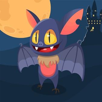 Ali di apertura del pipistrello di halloween sveglio del fumetto