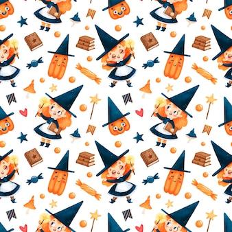 Simpatico cartone animato halloween piccola strega seamless pattern