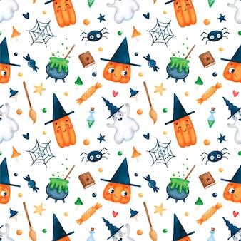 Modello senza cuciture magico di halloween simpatico cartone animato