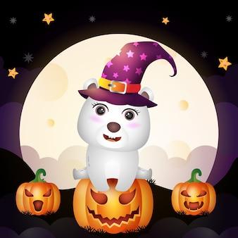 Un simpatico cartone animato halloween strega orso polare