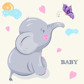 Elefante disegnato a mano sveglio del fumetto Vettore Premium