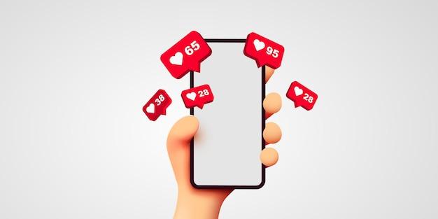 Simpatico cartone animato mano che tiene smartphone mobile con icone di notifica mi piace social media e marketing