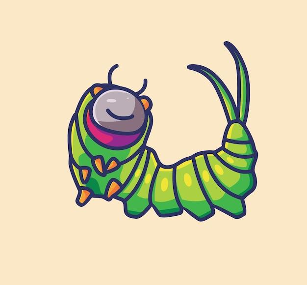 Simpatico cartone animato felice bruco verde occhi grandi vettore illustrazione icona personaggio animale adesivo