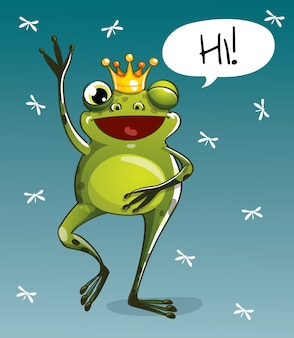 Simpatico cartone animato hapy divertimento principe ranocchio. biglietto di auguri, cartolina. ciao.