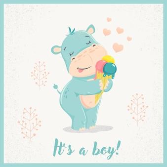Simpatico cartone animato ippopotamo ragazzo con gelato