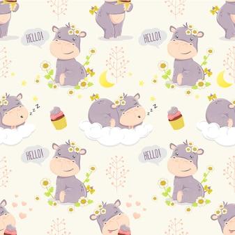 Cute cartoon hippo girl. modello senza soluzione di continuità illustrazioni per bambini.