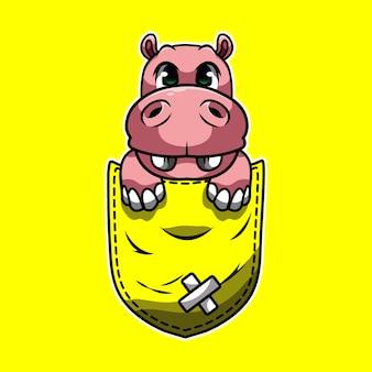 Simpatico cartone animato un ippopotamo in una tasca