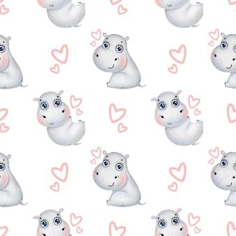 Ippopotami simpatico cartone animato con seamless pattern di cuori