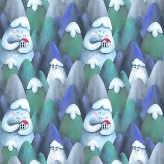 Carino, casa dei cartoni animati in montagna. modello senza cuciture con l'illustrazione dell'acquerello dei bambini.