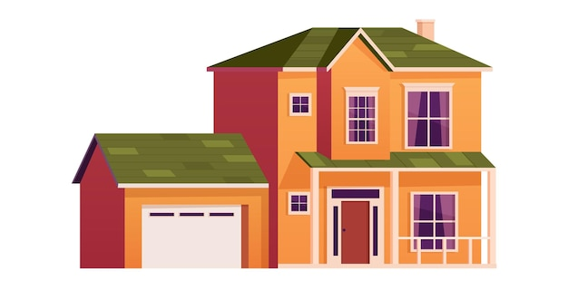 Casa simpatico cartone animato. abitazione su due piani con garage. edificio a schiera. facciata domestica con porte e finestre. illustrazione vettoriale in stile piatto