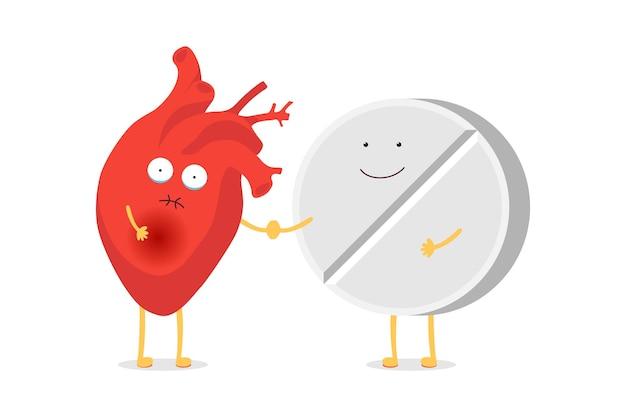 Simpatico cartone animato cuore umano carattere malsano malato emoji triste emozione con divertente pillola di medicina sorridente tablet. concetto di amici medici sanitari. illustrazione vettoriale di terapia del trattamento dell'organo circolatorio