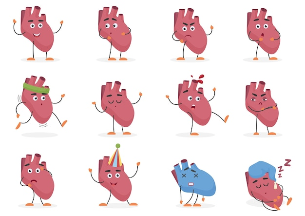 Insieme di emozioni e pose dell'organo interno del cuore umano sveglio del fumetto.