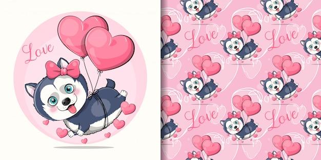 Cucciolo di husky sveglio del fumetto che vola con palloncini cuore