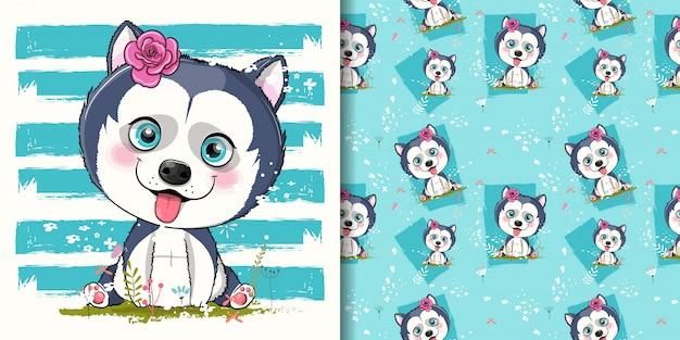 Illustrazione sveglia del cucciolo del husky del fumetto per i bambini