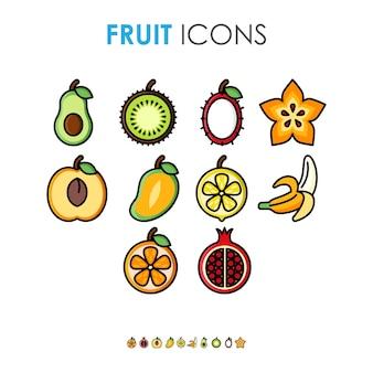 Illustrazione sveglia del fumetto varie icone di frutta con contorno spesso nero