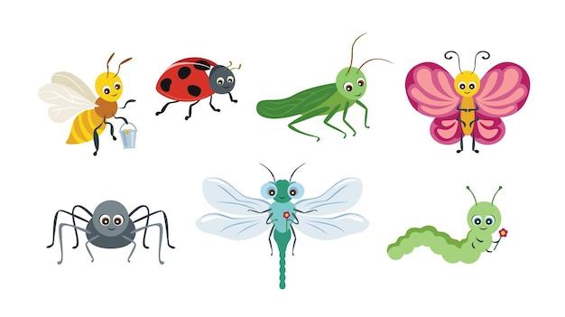 Collezione di insetti simpatico cartone animato.